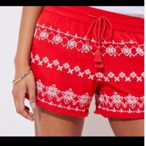 LOFT Red with White Embroidery Shorts